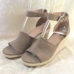 🆕Attention Wedge Espadrille Heels Tan Ankle
